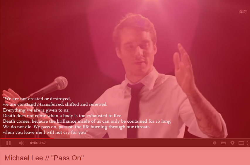 Pass On – A Poem by Michael Lee